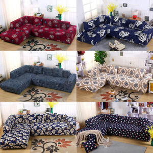 Image Is Loading Vintage L Shape Couch Covers Stretch Elastic Fabric