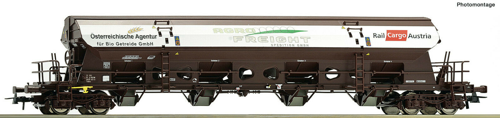 ROCO h0 76413 testa girevole tetto auto agro Freight delle ÖBBNUOVO  OVP