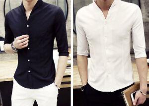 Men-039-s-Plain-Summer-Collarless-Half-Sleeve-Button-Front-Mod-Casual-Work-Shirt-Top