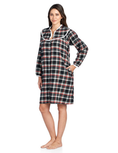 Ashford /& Brooks Women/'s Flannel Plaid Long Sleeve Snap Front Lounge Duster