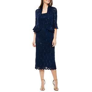 e5c64150d0d RM Richards Women s Sequin Lace Midi Dress With Jacket - Mother of ...