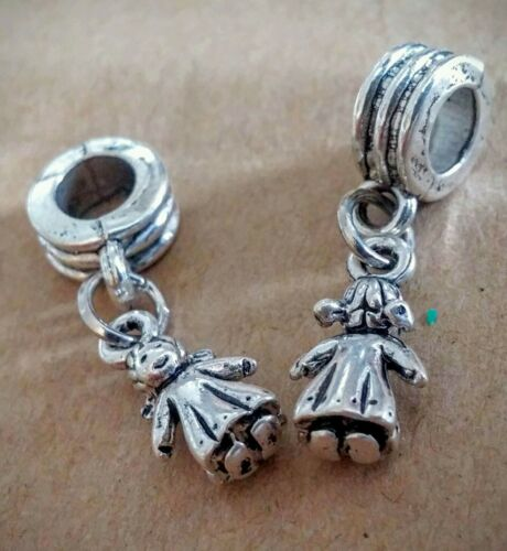 5PC LOT Silver Little Girl Daughter w// Pigtails  European Dangle Charms for Mom