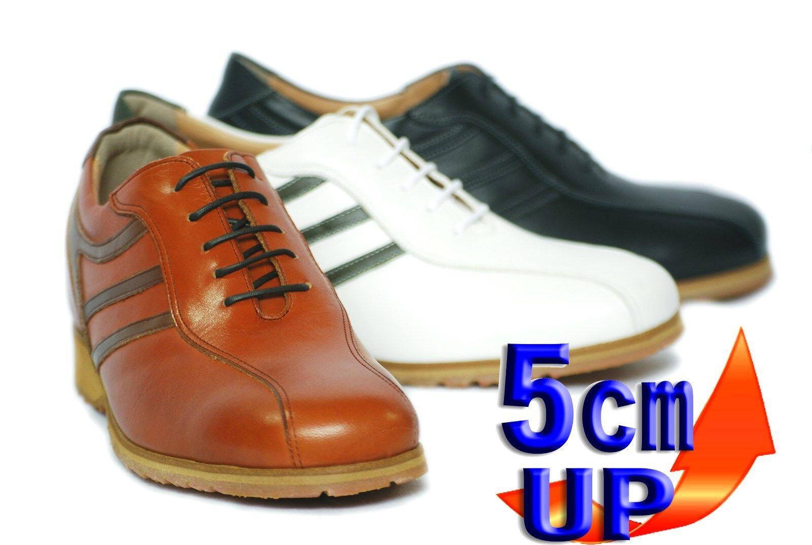 Zapatillas para hombre Cuero blancoos Up  Elevador altura Japón Kitajima creciente