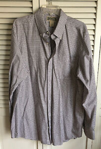 Duluth-Trading-Co-Shirt-Mens-LT-Black-White-Plaid-Cotton-Button-Long-Sleeve-EUC
