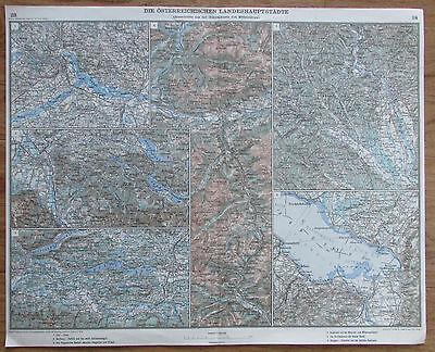 Die österreichischen Landeshauptstädte - Karte Landkarte aus 1928 old map