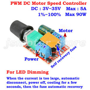 Mini DC 5V 6V 9V 12V 18V 24V 5A PWM DC Motor Speed Controller Switch LED Dimmer