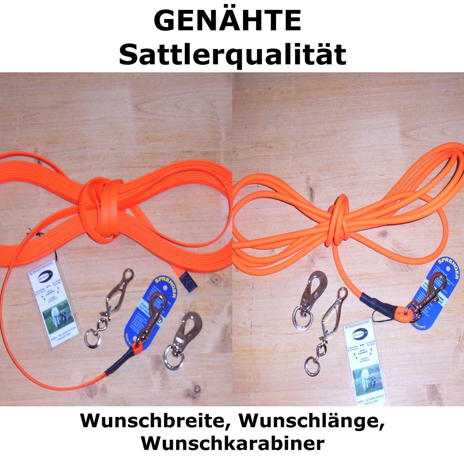 Orange GENÄHT BioThane Schleppleine GENÄHT Orange NICHT NUR GENIETET  Wunschlänge Wunschbreite 87d06b