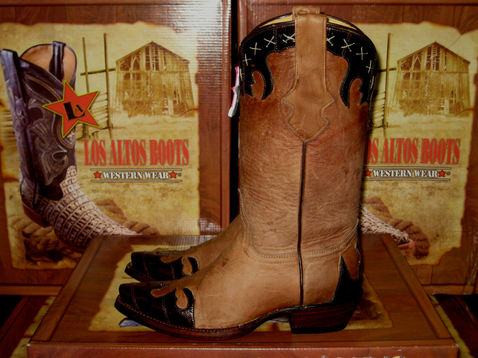 LOS ALTOS WOMEN WOMEN WOMEN BROWN CHOCOLATE LEATHER SNIP TOE EEL WESTERN COWBOY BOOT 34P0807 a68615