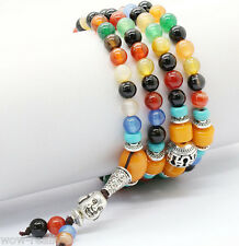 8mm Tibet Buddhist 108 Multi-Color Gemstone Prayer Beads Mala Necklace