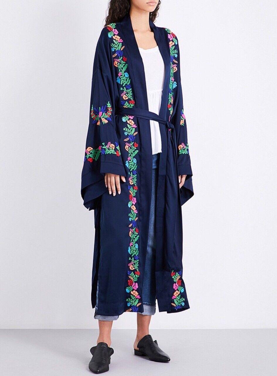 NEW  183 Free People Satin Floral Embroidered Kimono Robe Size XS