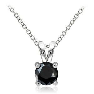 925-Sterling-Silver-1-2ct-Black-Cubic-Zirconia-5mm-Round-Solitaire-Necklace