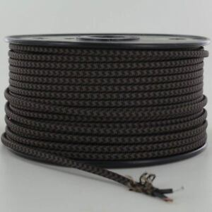 BLACK-amp-BROWN-Vintage-Parallel-Flat-Fabric-Lamp-Wire-Cord-Price-Per-Foot