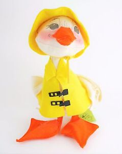 VINTAGE-ANNALEE-Large-Plush-Duck-in-Yellow-Raincoat-amp-Hat-Stands-13-5-034-Tall