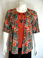 Women's Plus Size Rust Paisley Print Top W Necklace Size 1x Made Usa