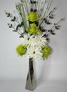 Artificial silk flowers lime green cream flowers in silver ceramic image is loading artificial silk flowers lime green amp cream flowers mightylinksfo