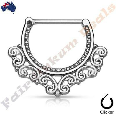 316L Surgical Steel Silver Ion Plated Nipple Bar Clicker with Tribal Fan Design