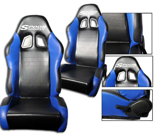 2 BLACK /& BLUE LEATHER RACING SEAT RECLINABLE FOR HONDA with LOGO