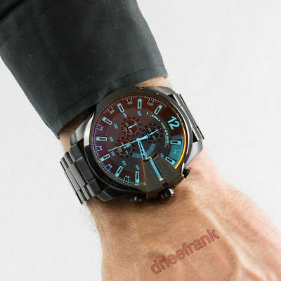 NEW Diesel DZ4318 Mega Chief Chronograph Black Stainless Steel Men s Watch   69bd0625ea9