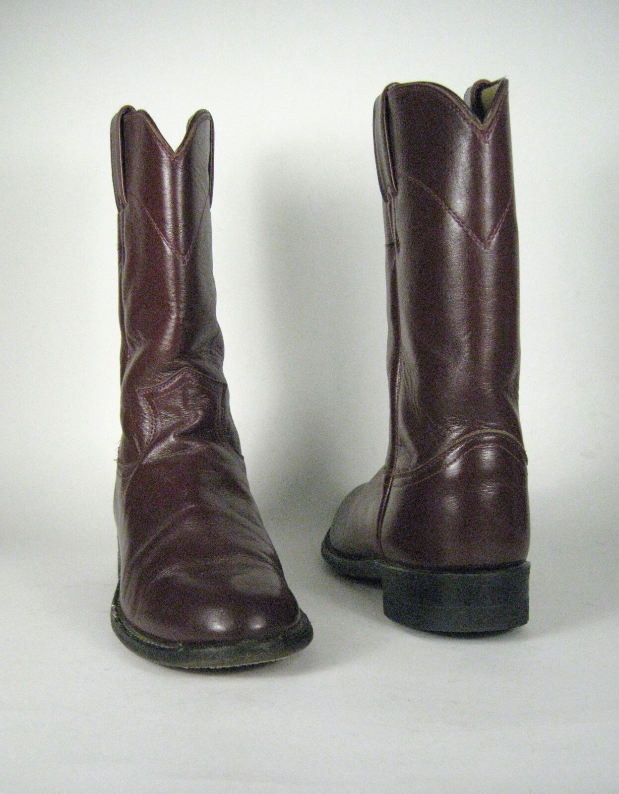 Justins Boots Size 7 1 2 B US Narrow Maroon Leather Roper Western Men's