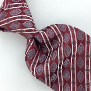 SETA ZONE Tie Necktie Stripes Maroon Silver Woven Luxury Silk Mens ... 8b36f0167