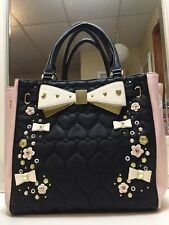 Betsey Johnson Tote 3D Flowers Pink And Black NWT