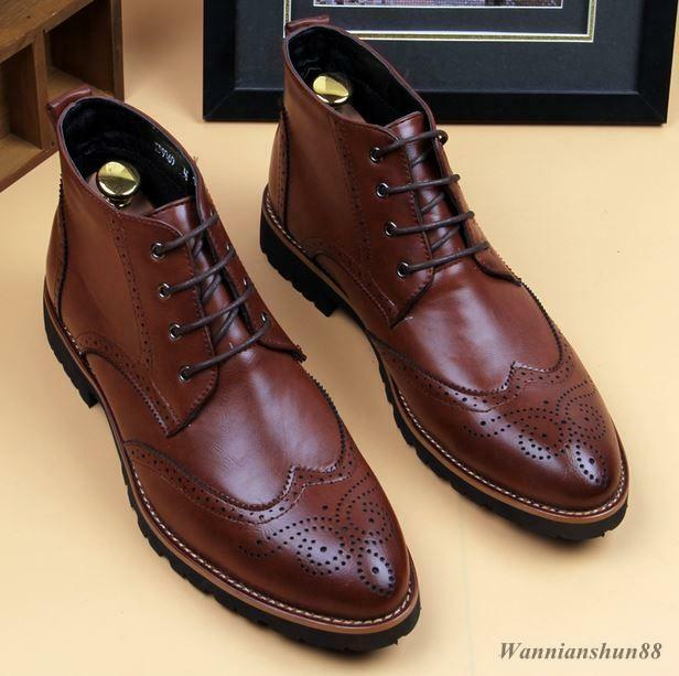 New Mens oxford brogue classic wing tip  cave lace up casual point ankle boots