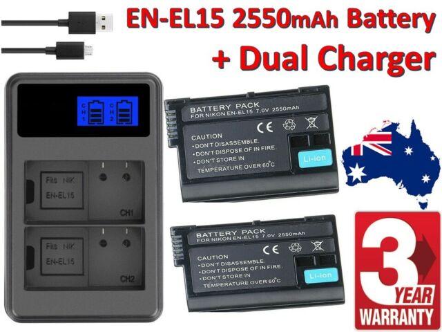 2Pcs EN-EL15 2550mAh Battery Dual Slot USB Charger LCD Display For Nikon Camera
