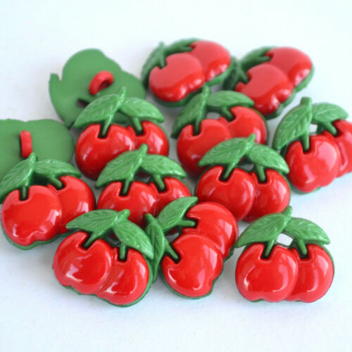 16 mm Botones de cereza con hojas verdes que se vende por 10 Botones
