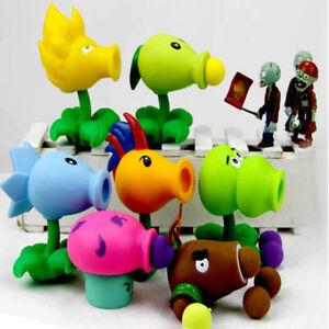 Plants vs zombies action figures peas shooter gun zombie toy set kids gift