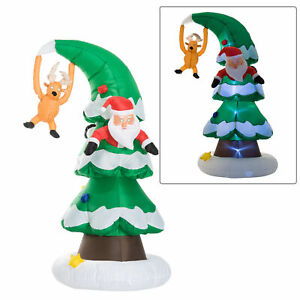 7FT-Inflatable-Santa-Claus-Stuck-In-Christmas-Tree-Yard-Holiday-Decorations