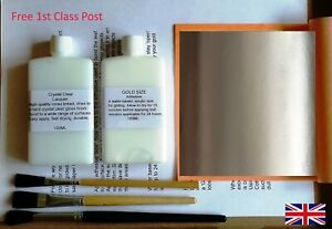 Silver Leaf Adhesive Kit Lacquer /& Brushes Qty 25 Sheets Finest Italian Silver