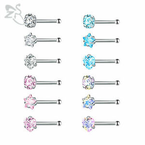 3 Pcs Lot Women Nose Screw Studs Stainless Steel Crystal Nostril