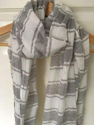 Brand New Grey Crinkled Striped Design Scarf With Feathered Edge