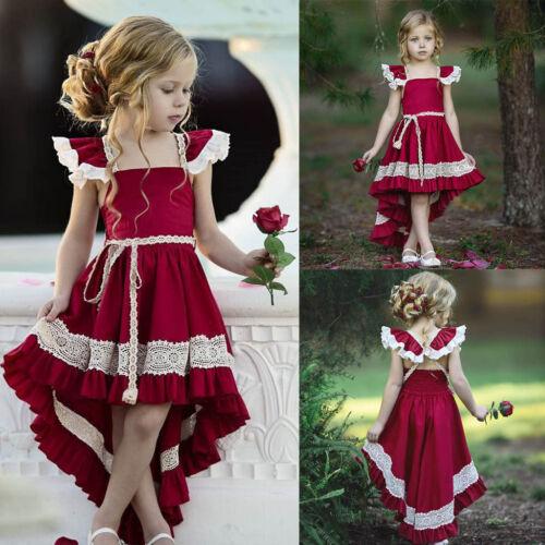 Kids Girls Party Bow Princess Dress Flower Wedding Bridesmaid Formal Dresses