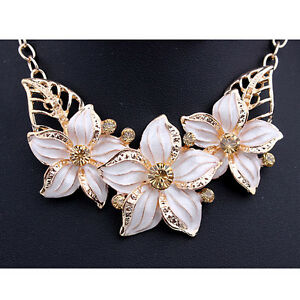 Chic lady gold plated jewelry set bluewhite flower statement image is loading chic lady gold plated jewelry set blue white mightylinksfo