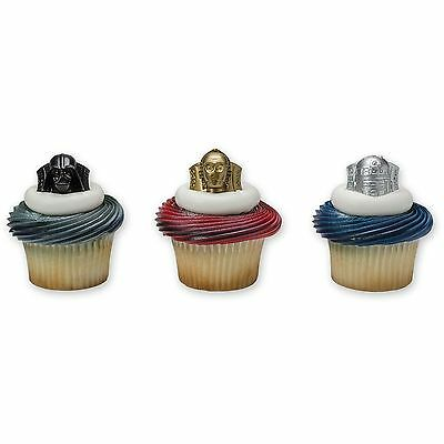 12 Pieces Cupcake Topper Cake Picks STAR WARS Darth Vader C3PO R2D2 Yoda