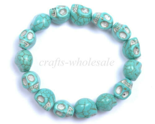 1Pcs Fashion Charms Punk Rock Turquoise Sugar Skull Bracelets Élastique Bracelet