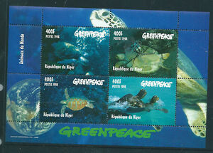 Republic-du-Niger-1998-Greenpeace-Turtles-mini-sheet-unmounted-mint