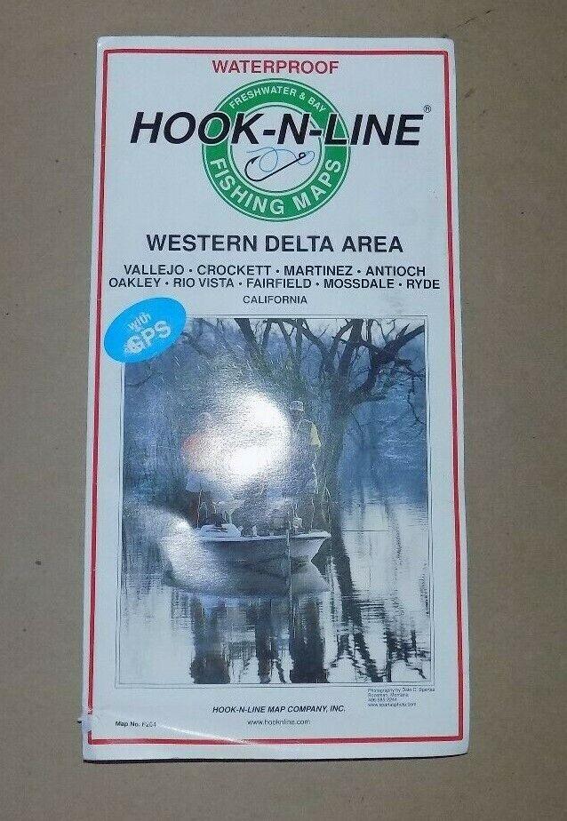 California Delta Map Hook N Line Waterproof Fishing Map w GPS Coordinates
