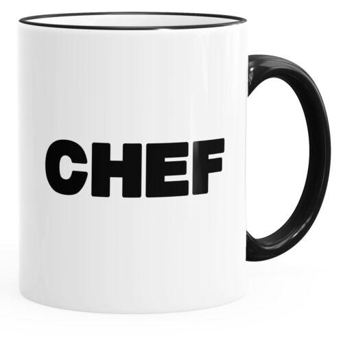 Kaffee-Tasse Chef-Tasse mit farbiger Kante und Henkel MoonWorks®