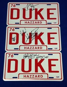 Catherine Bach,Tom Wopat,John Schneider Signed Dukes Of Hazzard Car Plate PSA