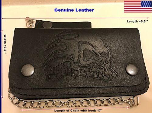 B22 Genuine-Leather-Motorcycle-Trucker-Biker-Chain-Wallet-inside-Zipper-Black