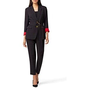 $139 Tahari ASL Notch Collar Belted Windowpane Jacket ONLY with Hardware Size 4