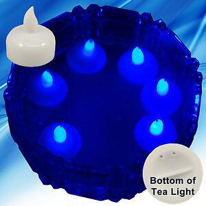 new 24 blue led floating floral tea light candle for wedding centerpiece decor ebay. Black Bedroom Furniture Sets. Home Design Ideas