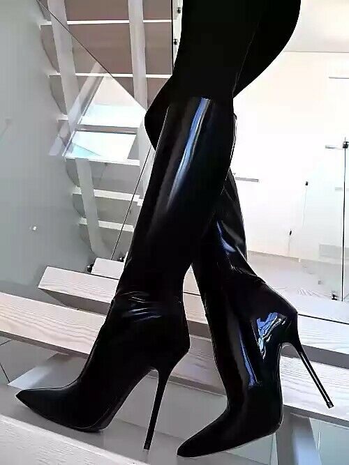 Womens High Heel Patent Leather Knee High High High Boots Nightclub Pointed Toe shoes Size 45cf3d