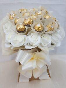 Ferrero Rocher Gold Amp Cream Chocolate Bouquet Sweet Gift Hamper Ebay