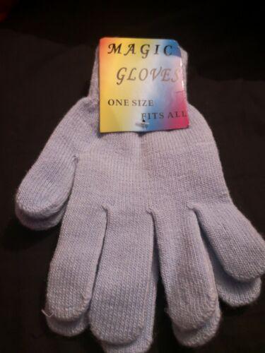 Magic Gloves Stretch Winter Blue Ladies Womens One Size Warm Soft