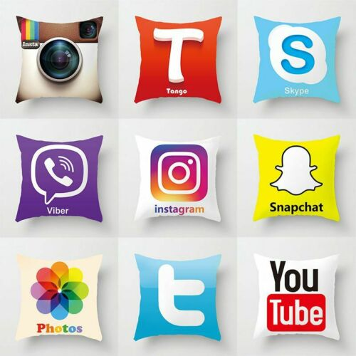 Social Media Pillow Case Cover Home Decor Microfiber Media Cushion Pillow Covers