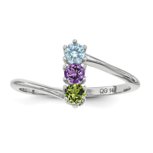 Custom Birthstone Ring 1-4 Stones Sterling Silver Mother/'s Day Jewelry Ring