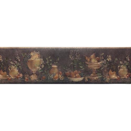 ONB65085 Fruit Bowls /& Vases Wallpaper Border Metallic Black /& Copper